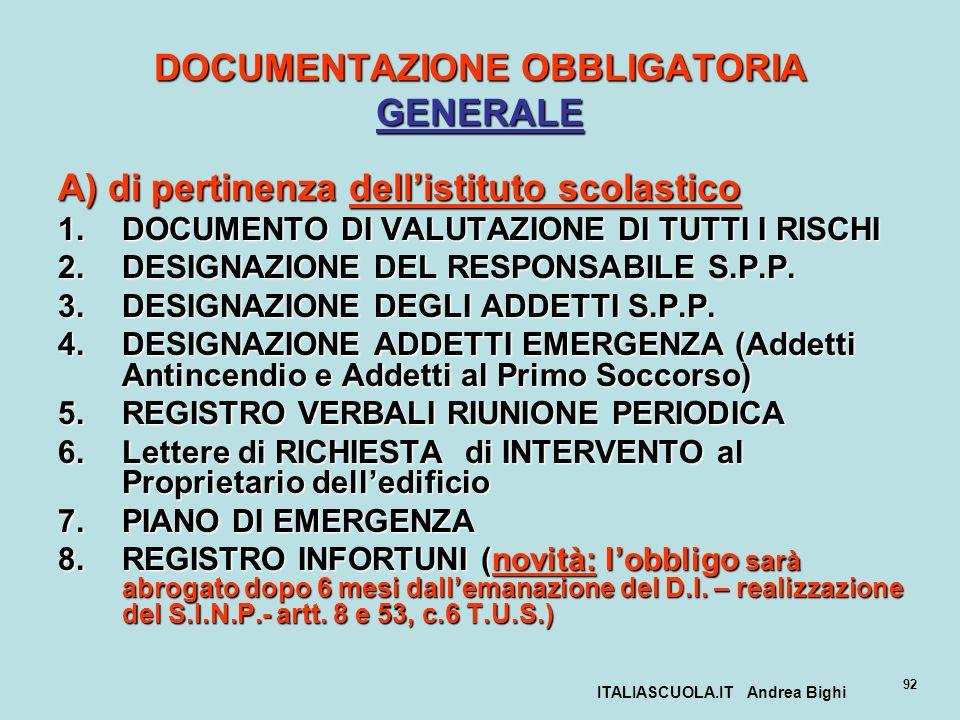 ITALIASCUOLA.IT Andrea Bighi 92 DOCUMENTAZIONE OBBLIGATORIA GENERALE A) di pertinenza dellistituto scolastico 1.DOCUMENTO DI VALUTAZIONE DI TUTTI I RI