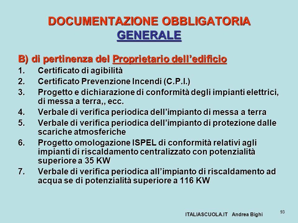 ITALIASCUOLA.IT Andrea Bighi 93 DOCUMENTAZIONE OBBLIGATORIA GENERALE B) di pertinenza del Proprietario delledificio 1.Certificato di agibilità 2.Certi