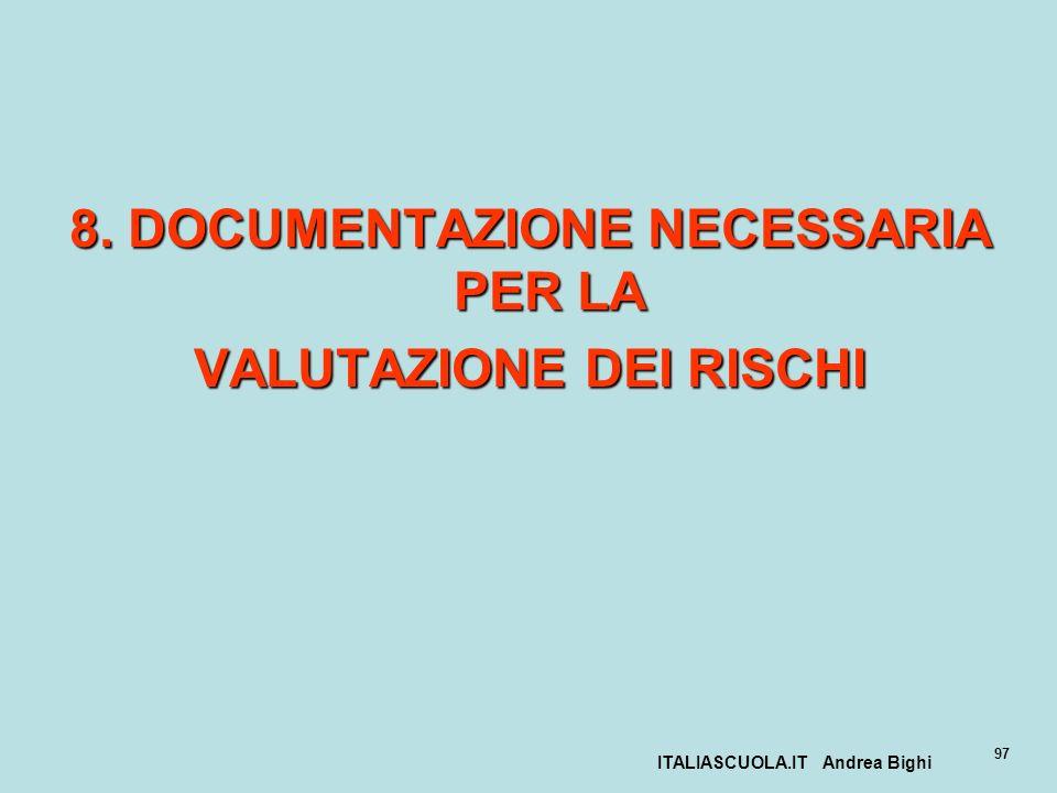 ITALIASCUOLA.IT Andrea Bighi 97 8. DOCUMENTAZIONE NECESSARIA PER LA VALUTAZIONE DEI RISCHI