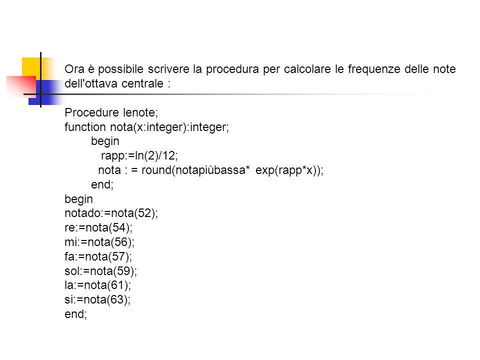 Ora è possibile scrivere la procedura per calcolare le frequenze delle note dell'ottava centrale : Procedure lenote; function nota(x:integer):integer;
