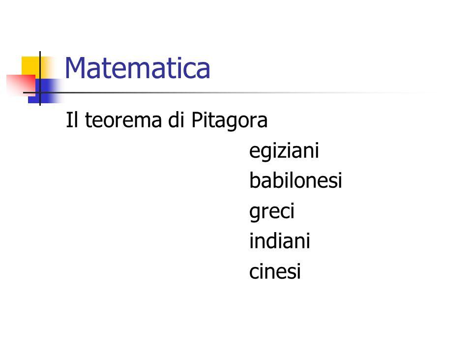 Matematica Il teorema di Pitagora egiziani babilonesi greci indiani cinesi
