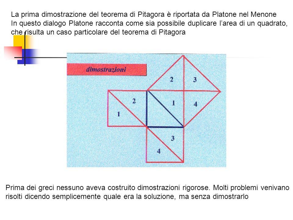 La prima dimostrazione del teorema di Pitagora è riportata da Platone nel Menone In questo dialogo Platone racconta come sia possibile duplicare larea