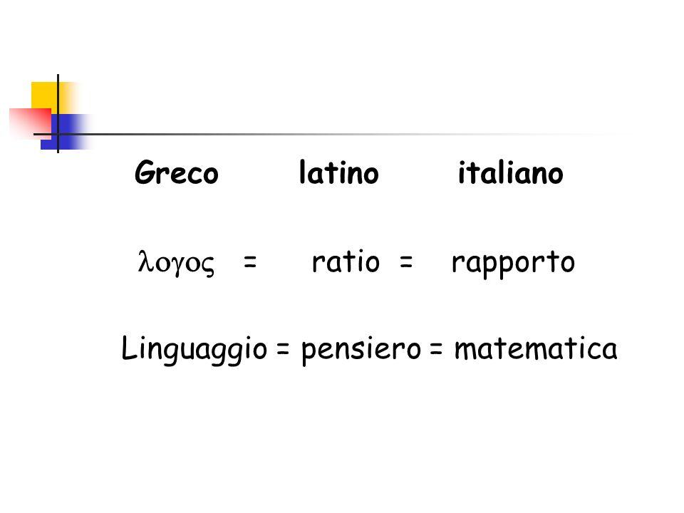 Greco latino italiano = ratio = rapporto Linguaggio = pensiero = matematica