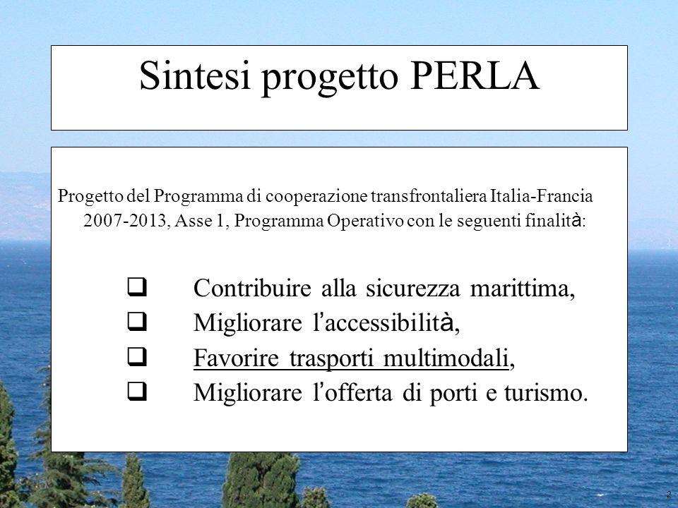 2 Sintesi progetto PERLA Progetto del Programma di cooperazione transfrontaliera Italia-Francia 2007-2013, Asse 1, Programma Operativo con le seguenti