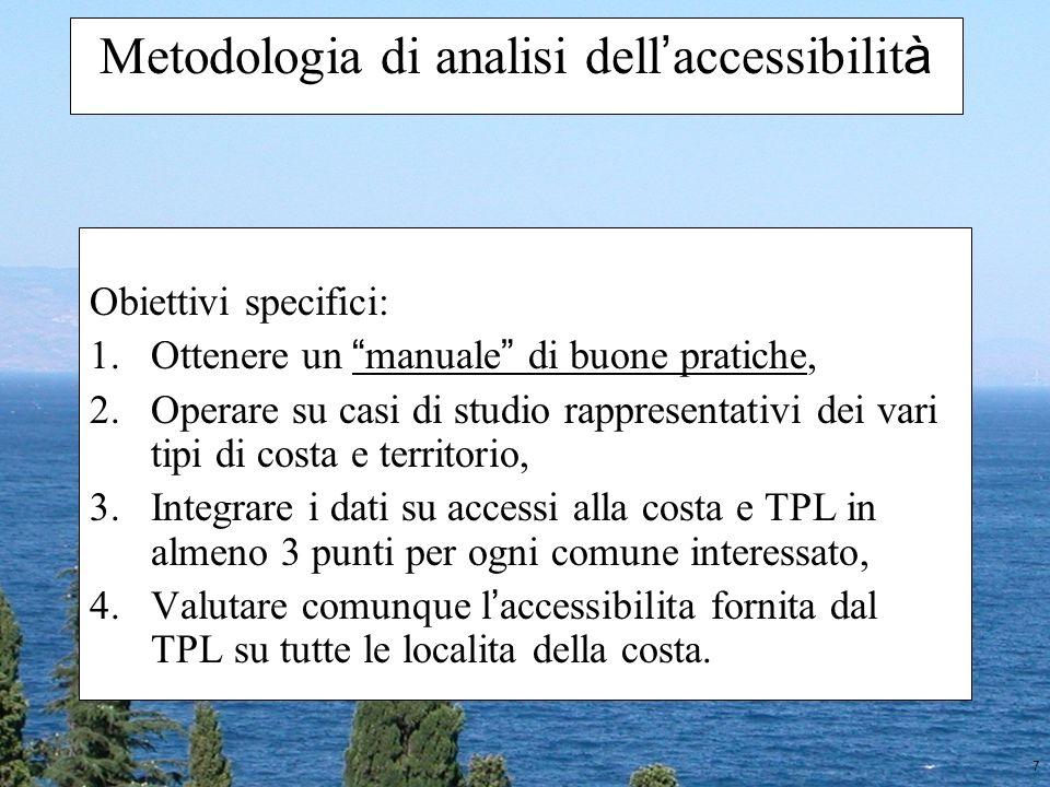 18 Metodologia di analisi dell accessibilit à Valutazione dellaccessibilità TPL (Trasporti) Valutazione accessibilità e sicurezza accessi costa (Scuole) Proposta di intervento specifico + =
