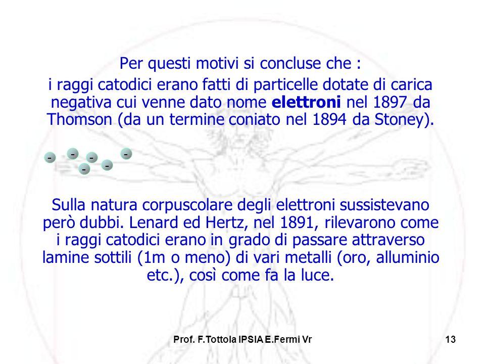 Prof. F.Tottola IPSIA E.Fermi Vr13 Per questi motivi si concluse che : i raggi catodici erano fatti di particelle dotate di carica negativa cui venne