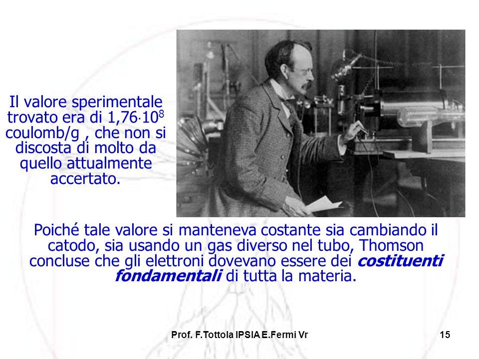 Prof. F.Tottola IPSIA E.Fermi Vr15 Il valore sperimentale trovato era di 1,76 10 8 coulomb/g, che non si discosta di molto da quello attualmente accer