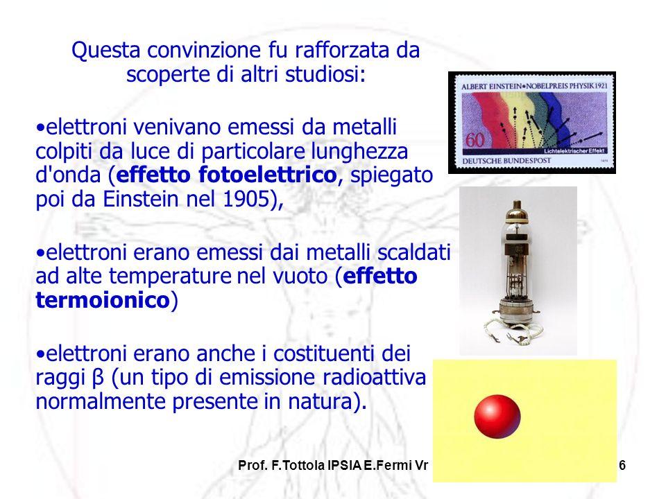 Prof. F.Tottola IPSIA E.Fermi Vr16 Questa convinzione fu rafforzata da scoperte di altri studiosi: elettroni venivano emessi da metalli colpiti da luc