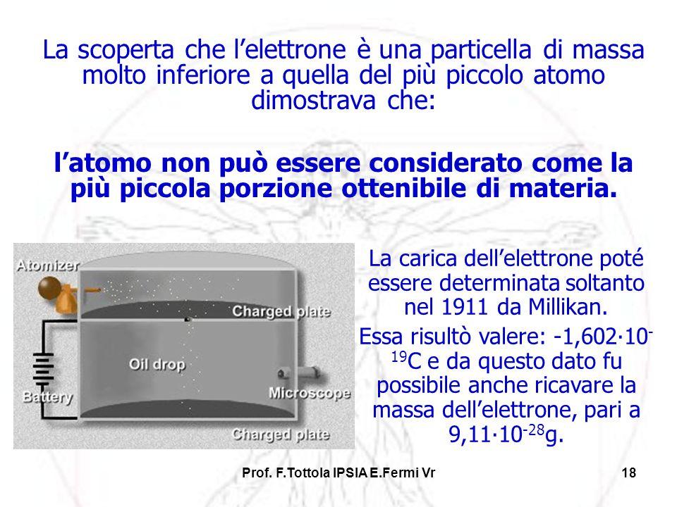 Prof. F.Tottola IPSIA E.Fermi Vr18 La scoperta che lelettrone è una particella di massa molto inferiore a quella del più piccolo atomo dimostrava che:
