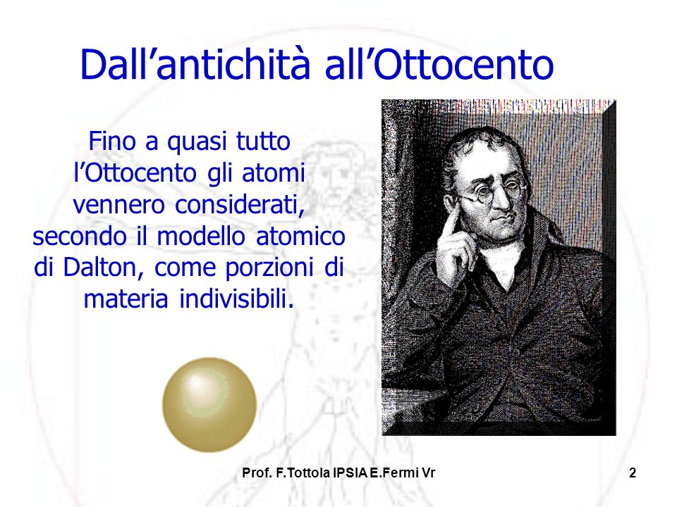 Prof. F.Tottola IPSIA E.Fermi Vr2 Dallantichità allOttocento Fino a quasi tutto lOttocento gli atomi vennero considerati, secondo il modello atomico d