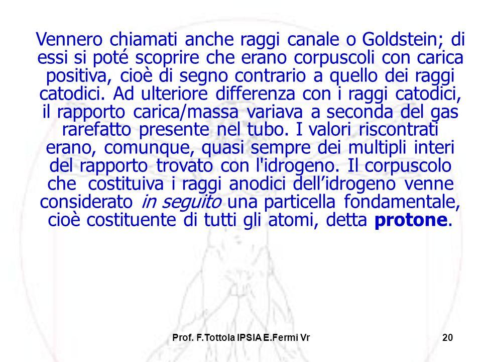Prof. F.Tottola IPSIA E.Fermi Vr20 Vennero chiamati anche raggi canale o Goldstein; di essi si poté scoprire che erano corpuscoli con carica positiva,