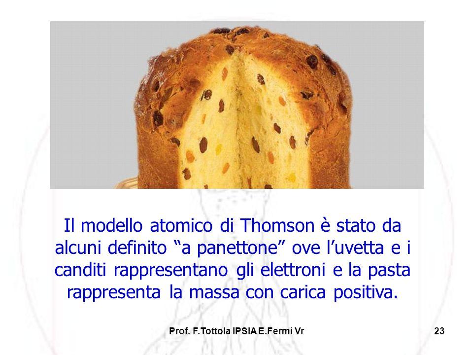 Prof. F.Tottola IPSIA E.Fermi Vr23 Il modello atomico di Thomson è stato da alcuni definito a panettone ove luvetta e i canditi rappresentano gli elet