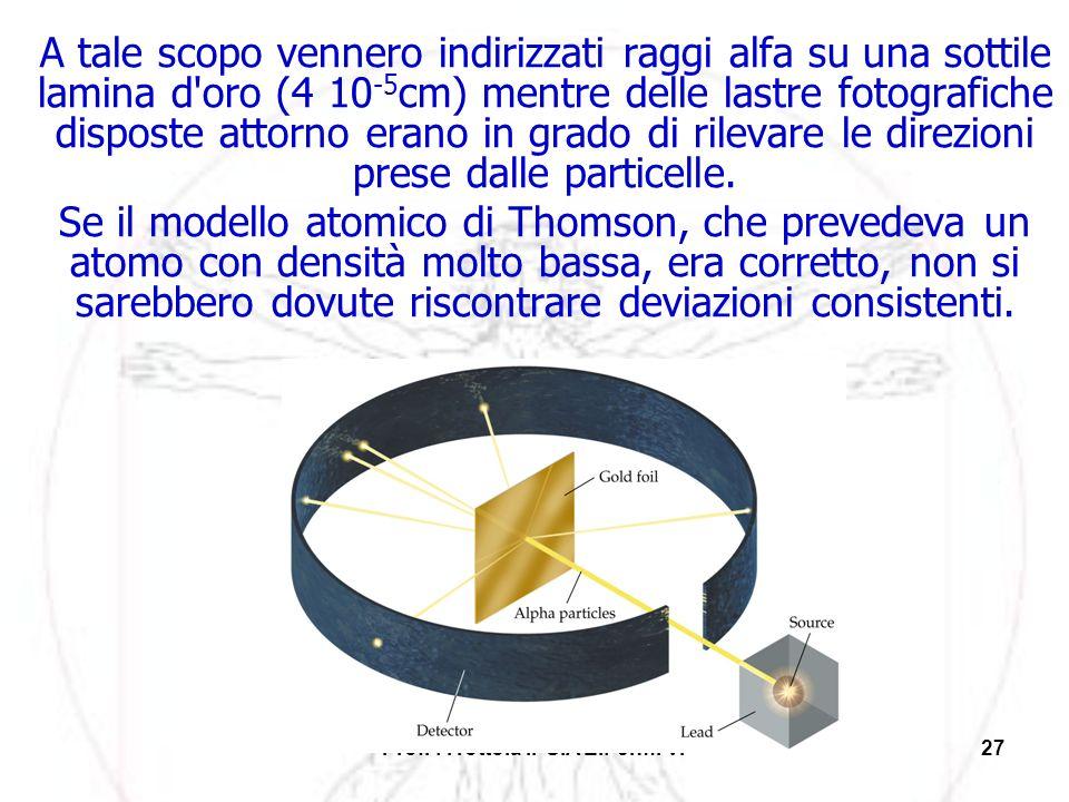 Prof. F.Tottola IPSIA E.Fermi Vr27 A tale scopo vennero indirizzati raggi alfa su una sottile lamina d'oro (4 10 -5 cm) mentre delle lastre fotografic