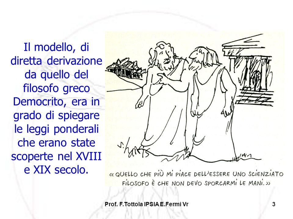 Prof. F.Tottola IPSIA E.Fermi Vr3 Il modello, di diretta derivazione da quello del filosofo greco Democrito, era in grado di spiegare le leggi pondera