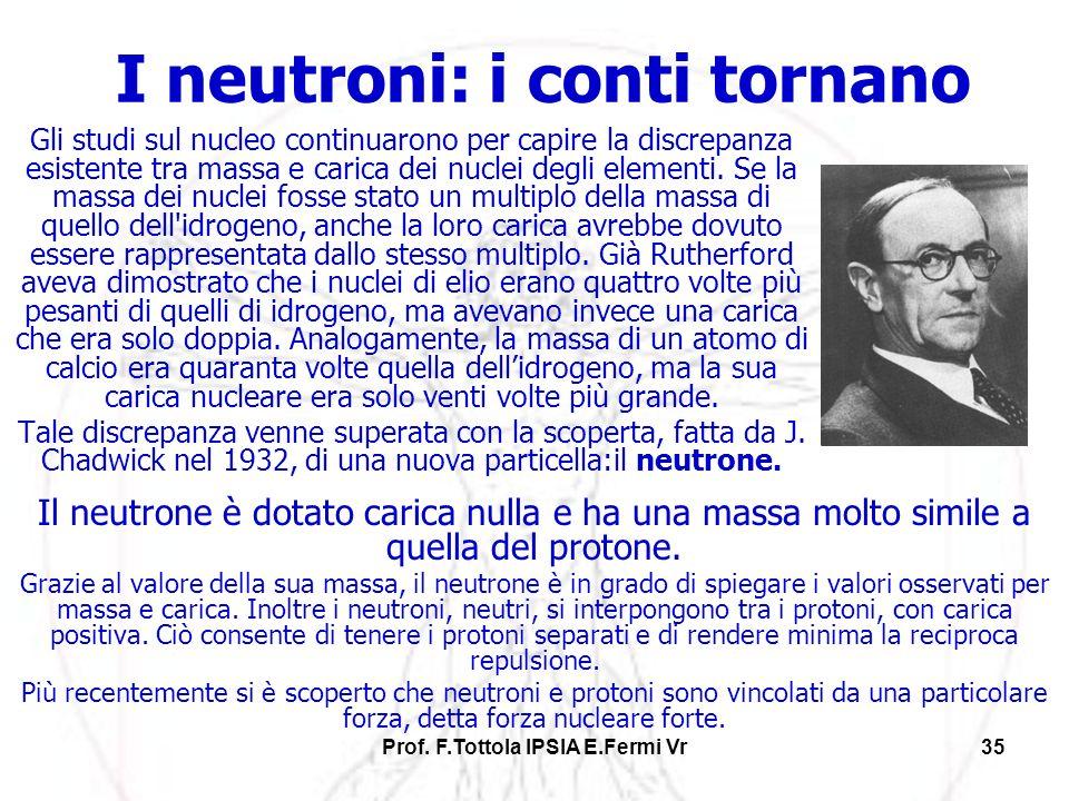 Prof. F.Tottola IPSIA E.Fermi Vr35 I neutroni: i conti tornano Gli studi sul nucleo continuarono per capire la discrepanza esistente tra massa e caric