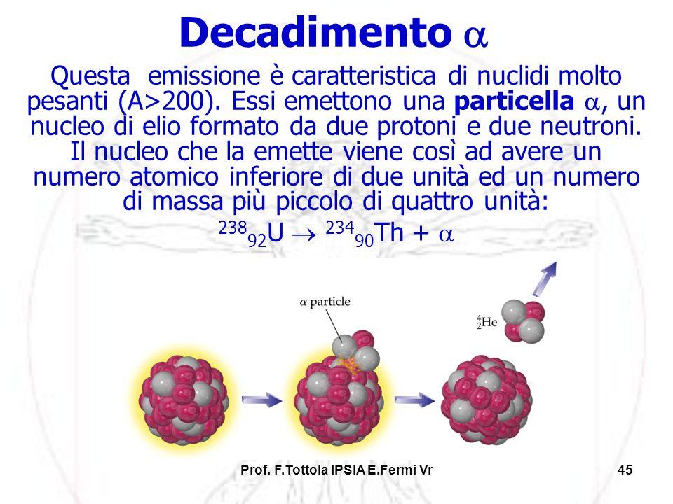 Prof. F.Tottola IPSIA E.Fermi Vr45 Decadimento Questa emissione è caratteristica di nuclidi molto pesanti (A>200). Essi emettono una particella, un nu
