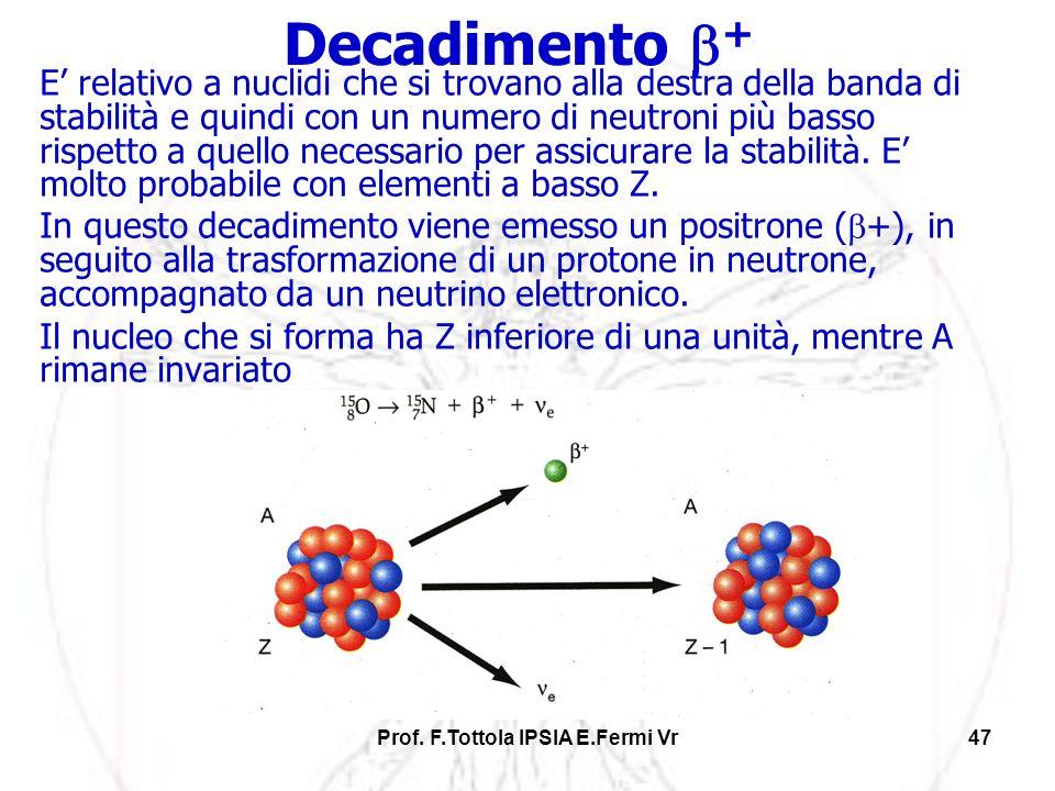 Prof. F.Tottola IPSIA E.Fermi Vr47 E relativo a nuclidi che si trovano alla destra della banda di stabilità e quindi con un numero di neutroni più bas