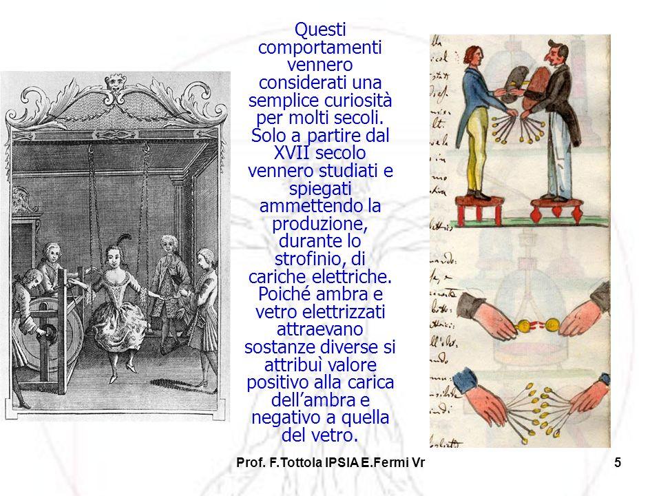 Prof. F.Tottola IPSIA E.Fermi Vr5 Questi comportamenti vennero considerati una semplice curiosità per molti secoli. Solo a partire dal XVII secolo ven