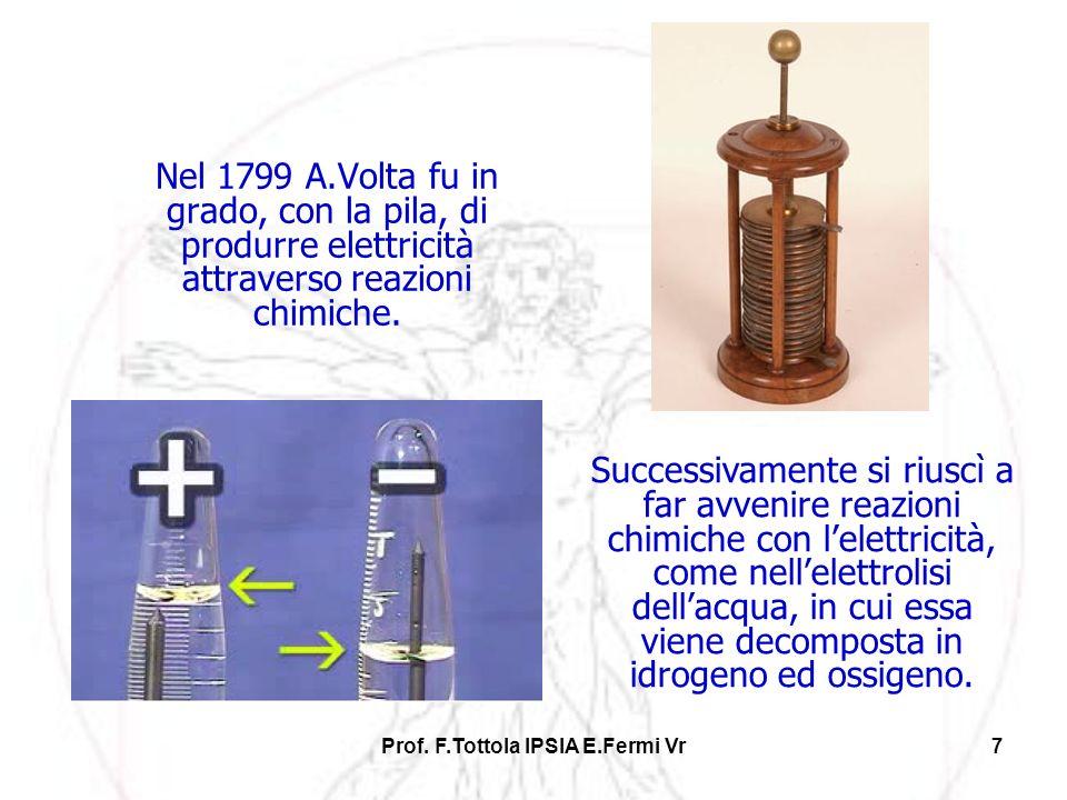 Prof. F.Tottola IPSIA E.Fermi Vr7 Nel 1799 A.Volta fu in grado, con la pila, di produrre elettricità attraverso reazioni chimiche. Successivamente si