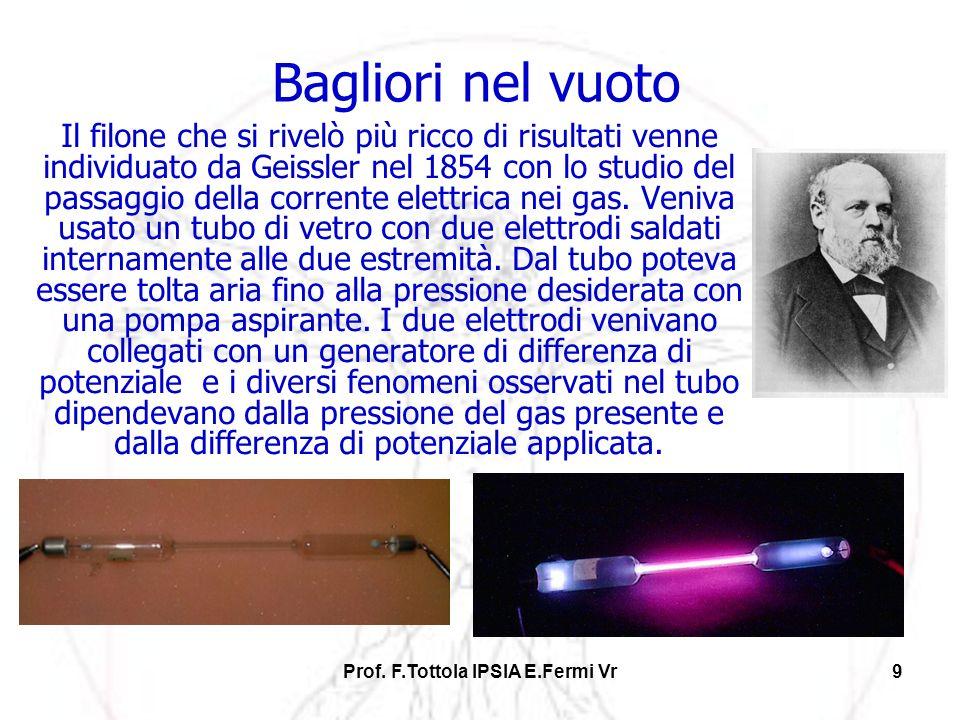 Prof. F.Tottola IPSIA E.Fermi Vr9 Bagliori nel vuoto Il filone che si rivelò più ricco di risultati venne individuato da Geissler nel 1854 con lo stud