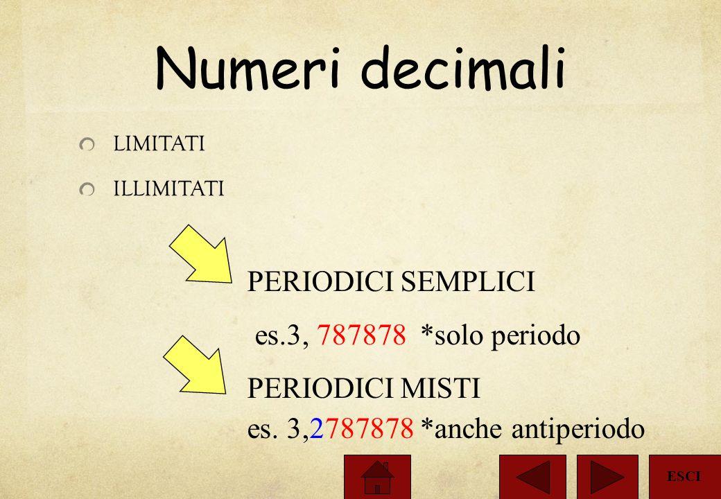 I Numeri Misti Le frazioni improprie si possono rappresentare come numeri misti formati da una parte intera + una frazione propria. Es.: 13 = 3 + 1 =