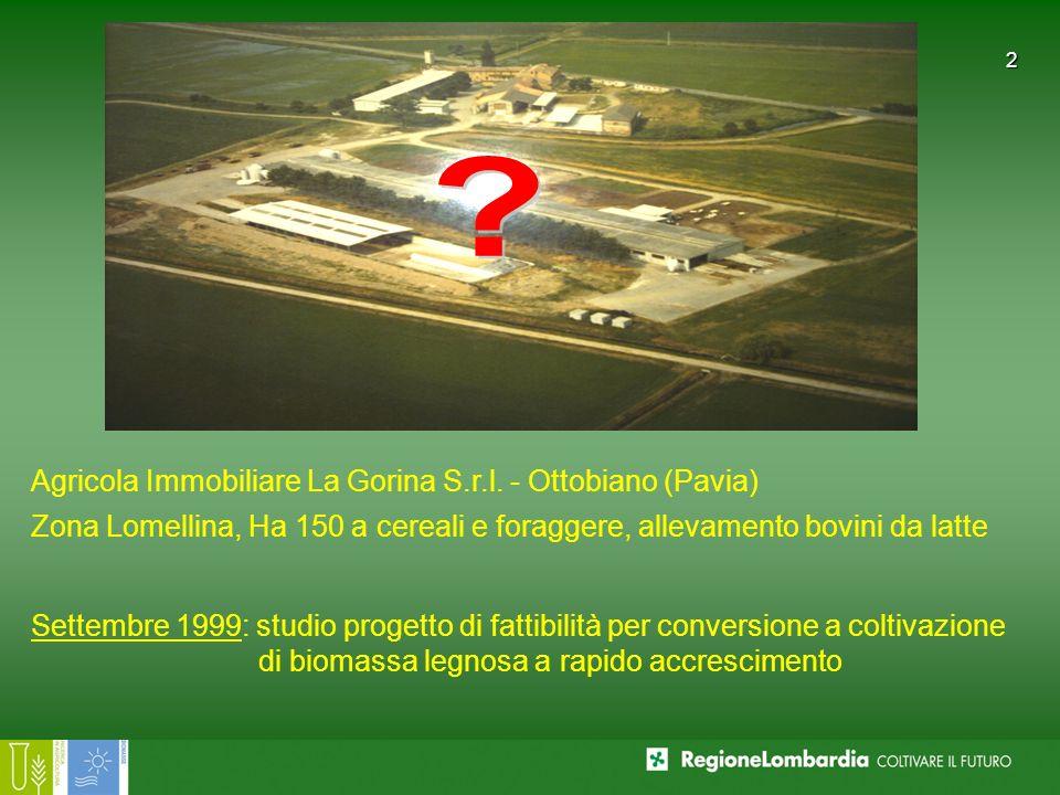 2 Agricola Immobiliare La Gorina S.r.l. - Ottobiano (Pavia) Zona Lomellina, Ha 150 a cereali e foraggere, allevamento bovini da latte Settembre 1999: