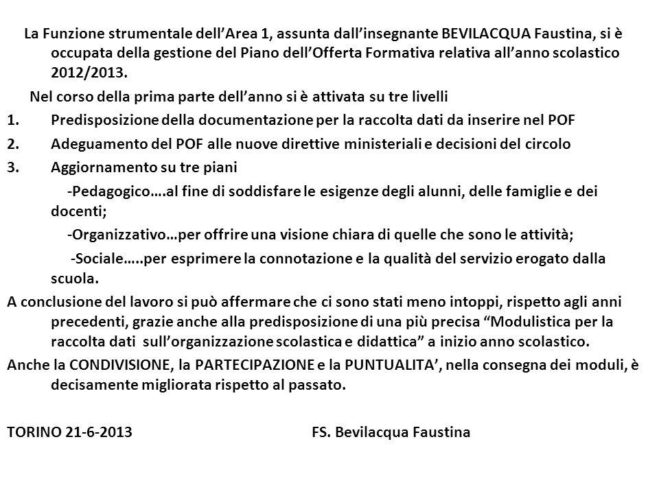 La Funzione strumentale dellArea 1, assunta dallinsegnante BEVILACQUA Faustina, si è occupata della gestione del Piano dellOfferta Formativa relativa