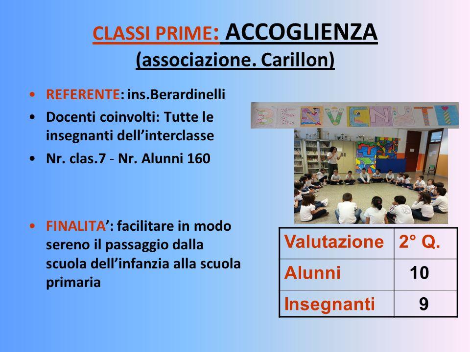 CLASSI PRIME : ACCOGLIENZA (associazione. Carillon) REFERENTE: ins.Berardinelli Docenti coinvolti: Tutte le insegnanti dellinterclasse Nr. clas.7 - Nr
