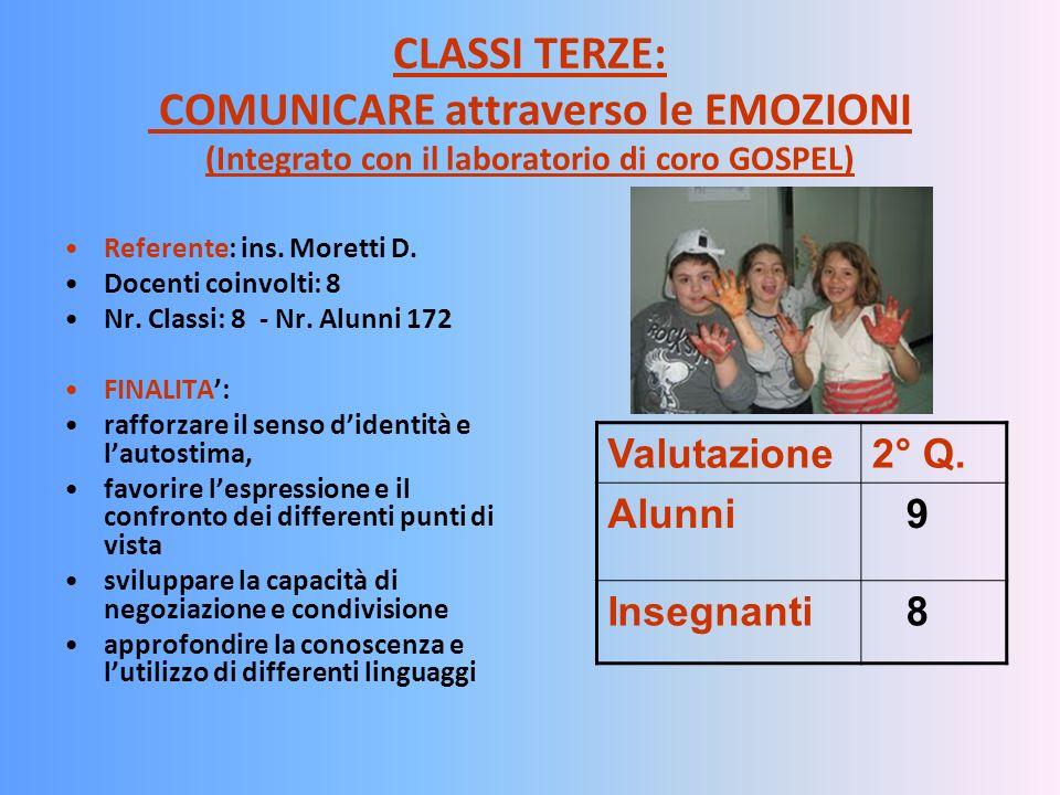 CLASSI TERZE: COMUNICARE attraverso le EMOZIONI (Integrato con il laboratorio di coro GOSPEL) Referente: ins. Moretti D. Docenti coinvolti: 8 Nr. Clas