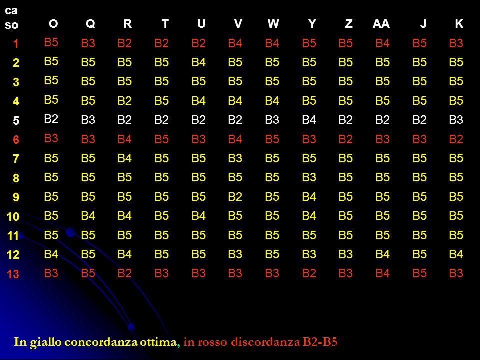 In giallo concordanza ottima, in rosso discordanza B2-B5 ca so 1 2 3 4 5 6 7 8 9 10 11 12 13 OQRTUVWYZAAJK B5B3B2 B4 B5 B4B5B3 B5 B4B5 B2B5B4 B5 B2B3B