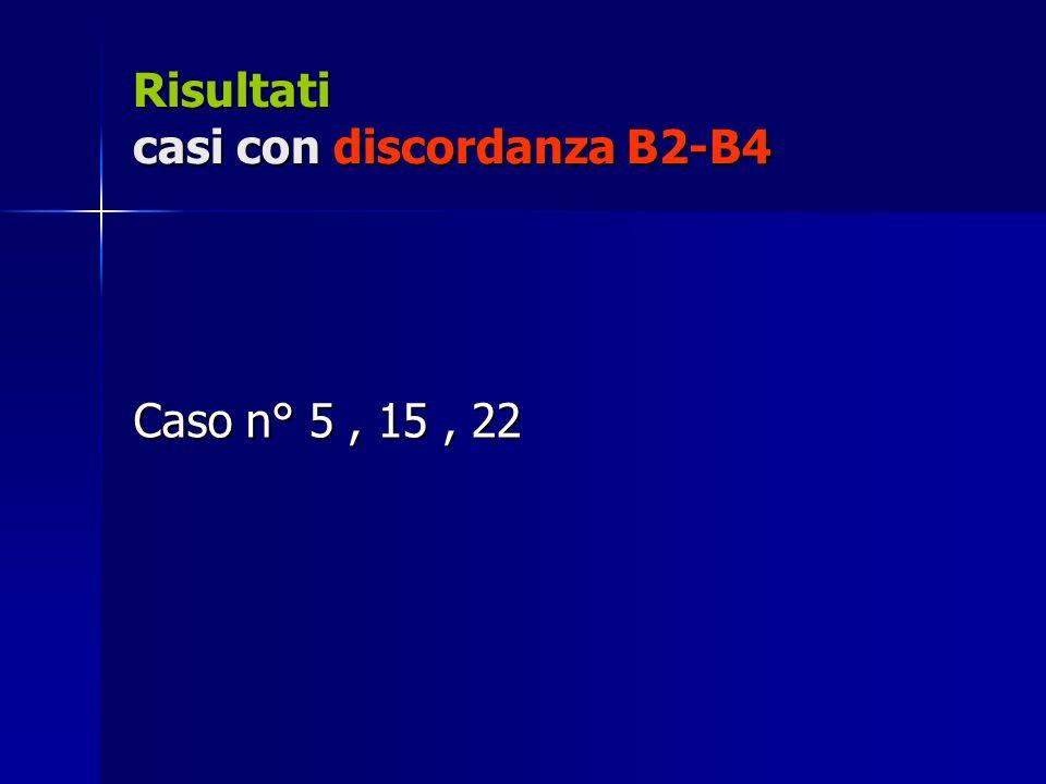 Risultati casi con discordanza B2-B4 Caso n° 5, 15, 22