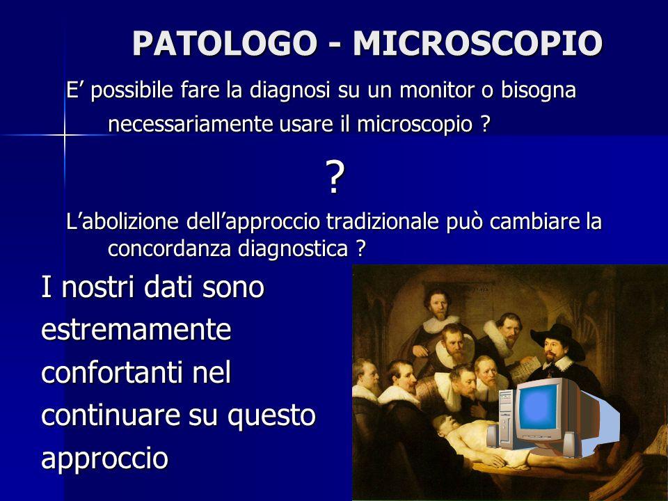 PATOLOGO - MICROSCOPIO E possibile fare la diagnosi su un monitor o bisogna necessariamente usare il microscopio ? ? Labolizione dellapproccio tradizi