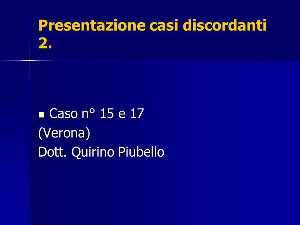 Presentazione casi discordanti 2. Caso n° 15 e 17 Caso n° 15 e 17(Verona) Dott. Quirino Piubello