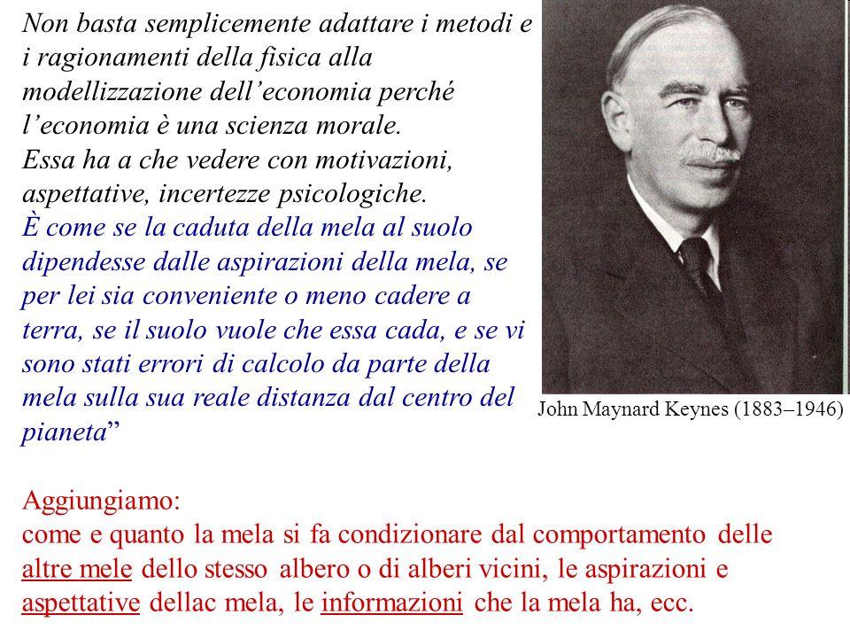 John Maynard Keynes (1883–1946) Non basta semplicemente adattare i metodi e i ragionamenti della fisica alla modellizzazione delleconomia perché lecon