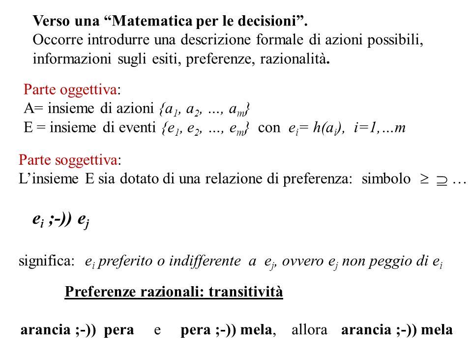 Verso una Matematica per le decisioni. Occorre introdurre una descrizione formale di azioni possibili, informazioni sugli esiti, preferenze, razionali