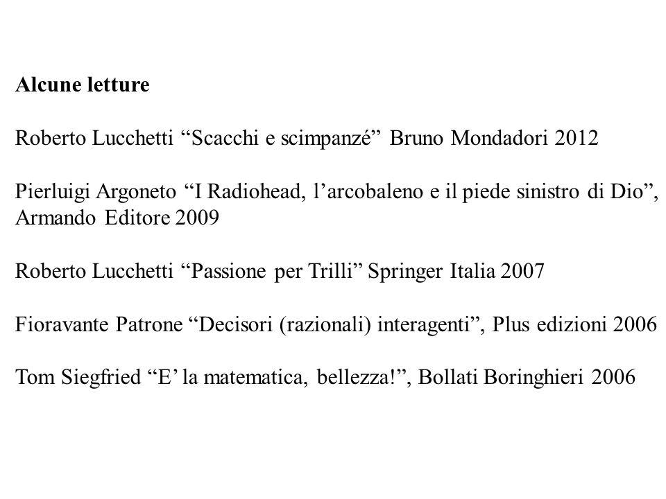 Alcune letture Roberto Lucchetti Scacchi e scimpanzé Bruno Mondadori 2012 Pierluigi Argoneto I Radiohead, larcobaleno e il piede sinistro di Dio, Arma