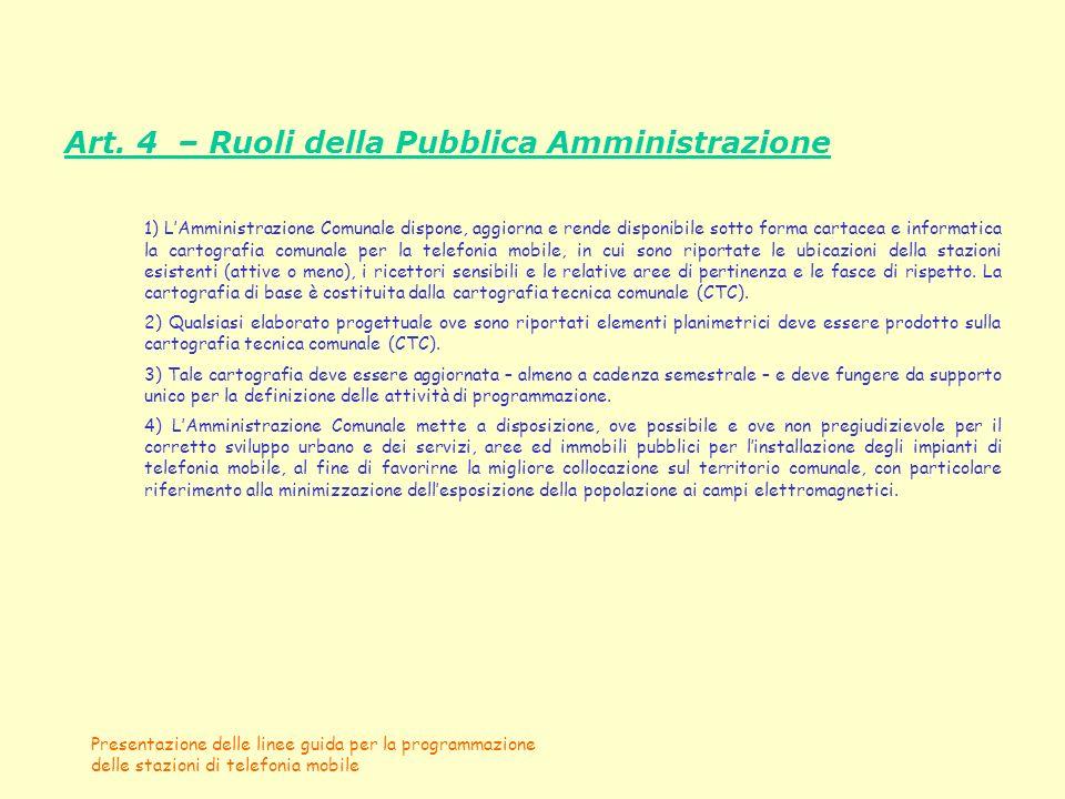 Presentazione delle linee guida per la programmazione delle stazioni di telefonia mobile Art. 4 – Ruoli della Pubblica Amministrazione 1) LAmministraz
