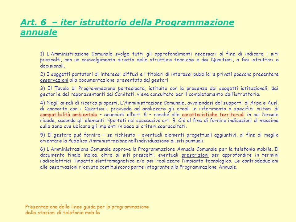 Presentazione delle linee guida per la programmazione delle stazioni di telefonia mobile Art. 6 – iter istruttorio della Programmazione annuale 1) LAm