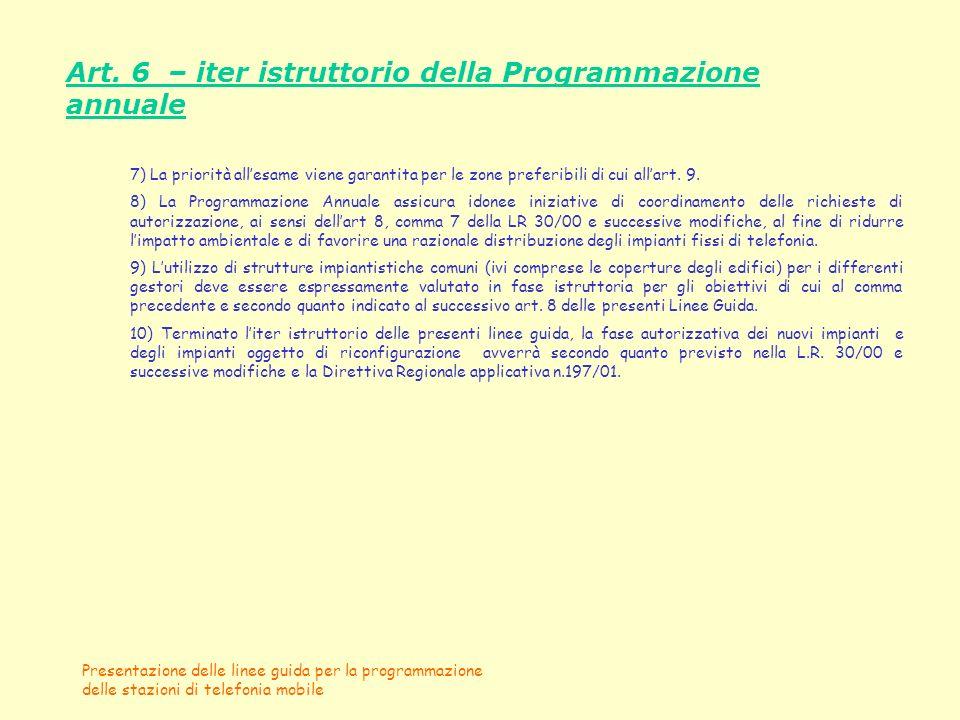 Presentazione delle linee guida per la programmazione delle stazioni di telefonia mobile Art. 6 – iter istruttorio della Programmazione annuale 7) La