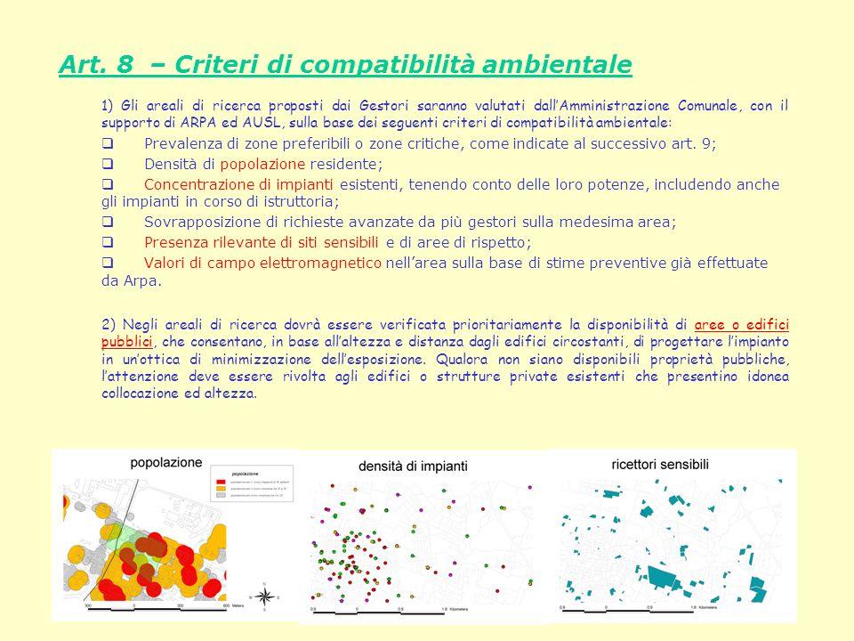 Presentazione delle linee guida per la programmazione delle stazioni di telefonia mobile Art. 8 – Criteri di compatibilità ambientale 1) Gli areali di