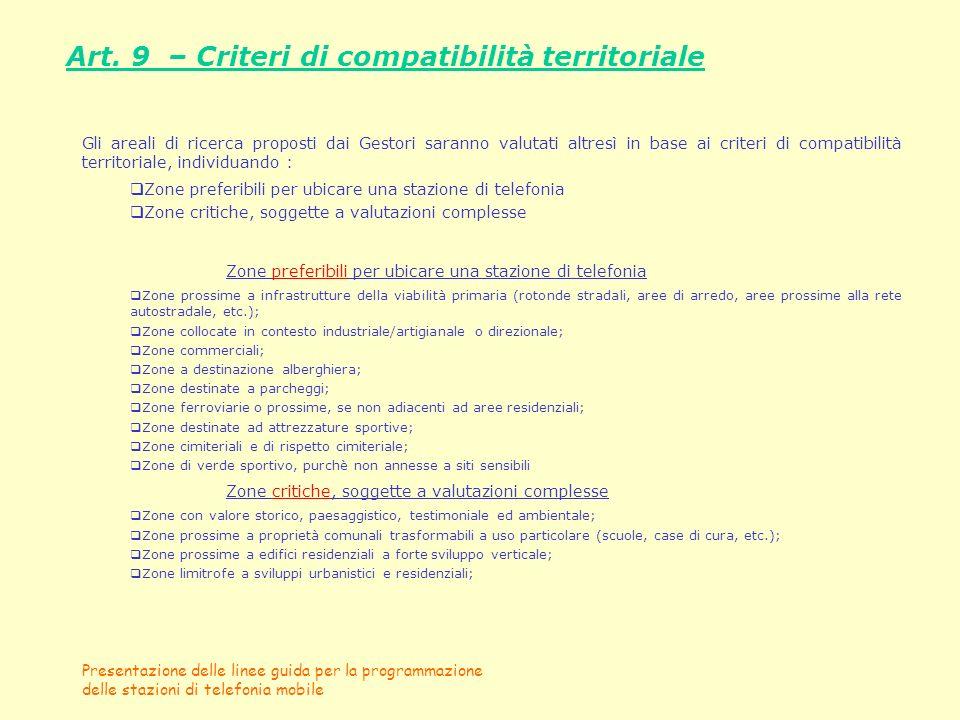 Presentazione delle linee guida per la programmazione delle stazioni di telefonia mobile Art. 9 – Criteri di compatibilità territoriale Gli areali di