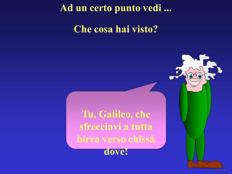 Ad un certo punto vedi... Tu, Galileo, che sfrecciavi a tutta birra verso chissà dove! Che cosa hai visto?
