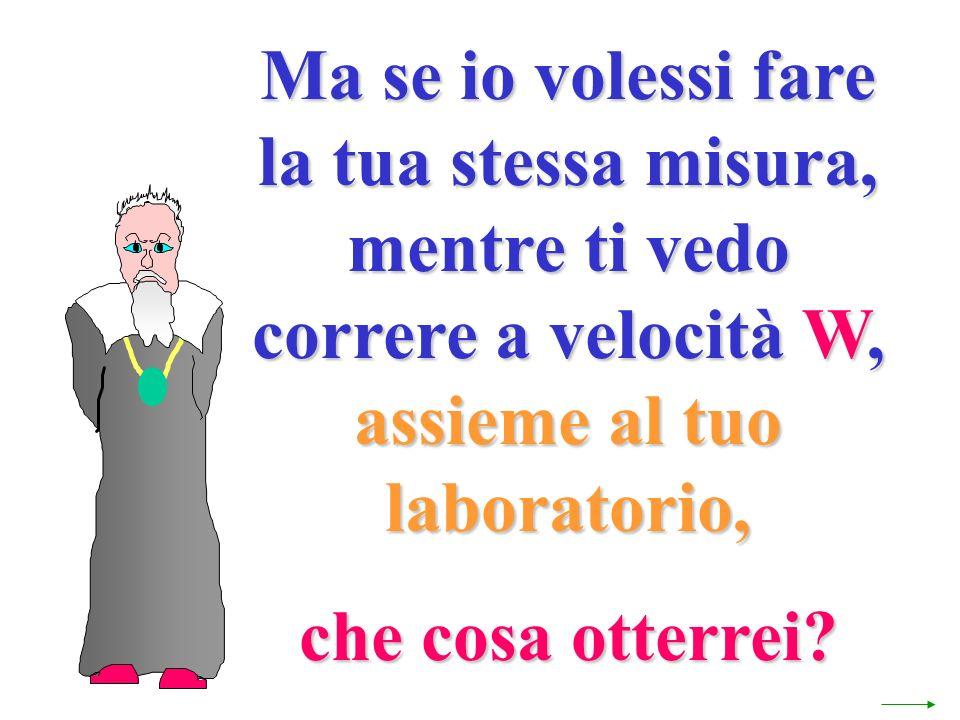 Ma se io volessi fare la tua stessa misura, mentre ti vedo correre a velocità W, assieme al tuo laboratorio, che cosa otterrei?