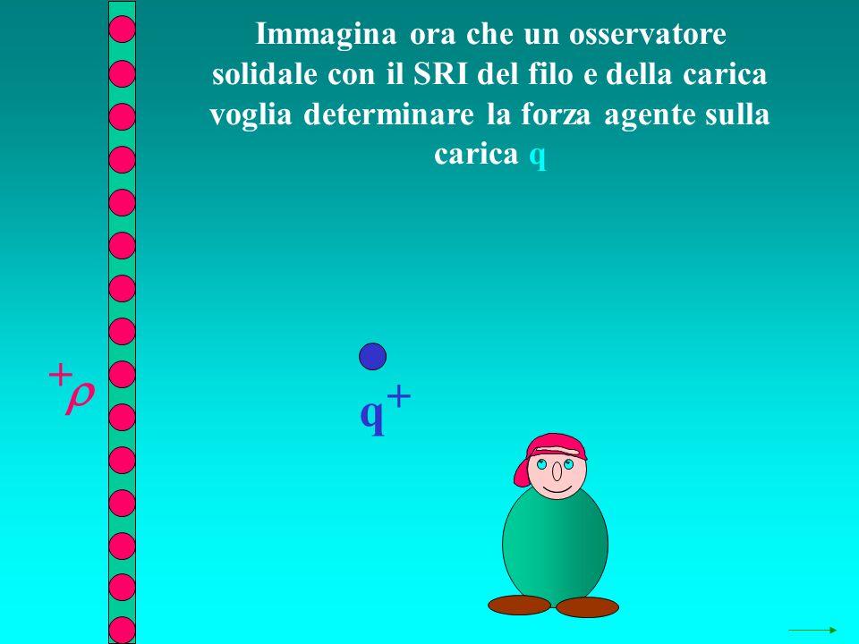Immagina ora che un osservatore solidale con il SRI del filo e della carica voglia determinare la forza agente sulla carica q q + +