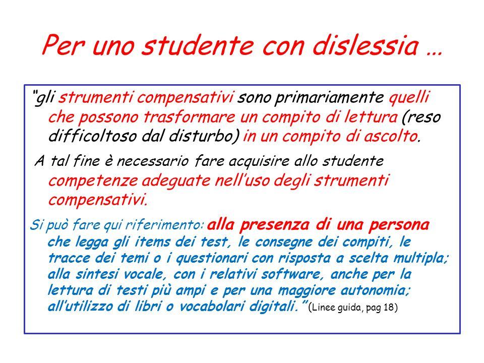 Per uno studente con dislessia … gli strumenti compensativi sono primariamente quelli che possono trasformare un compito di lettura (reso difficoltoso dal disturbo) in un compito di ascolto.