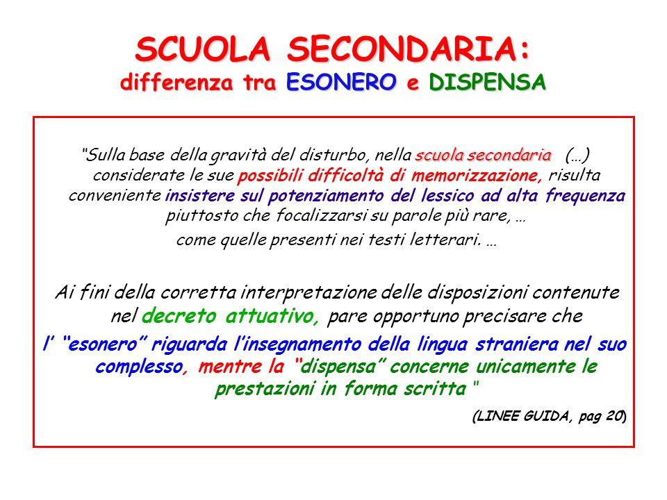 SCUOLA SECONDARIA: differenza tra ESONERO e DISPENSA scuola secondaria Sulla base della gravità del disturbo, nella scuola secondaria (…) considerate