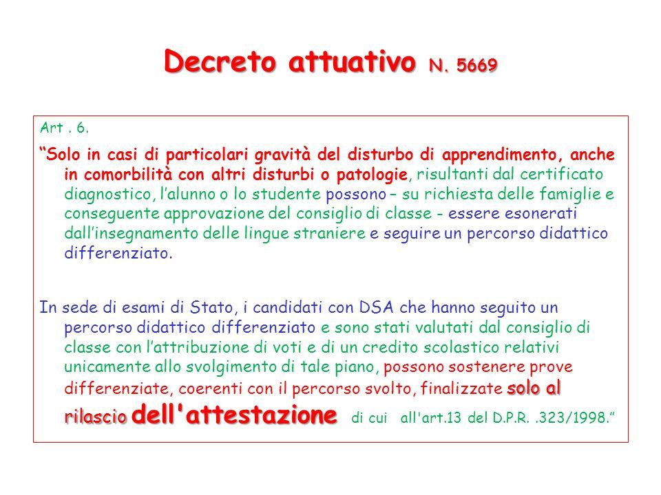 Decreto attuativo N.5669 Art. 6.