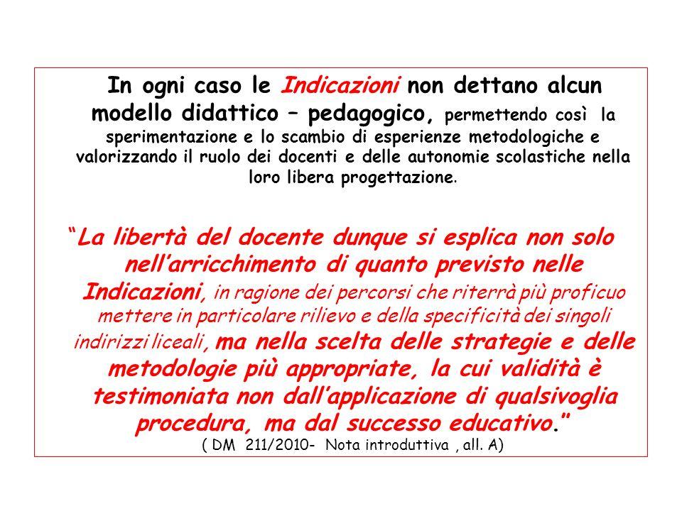 In ogni caso le Indicazioni non dettano alcun modello didattico – pedagogico, permettendo così la sperimentazione e lo scambio di esperienze metodolog