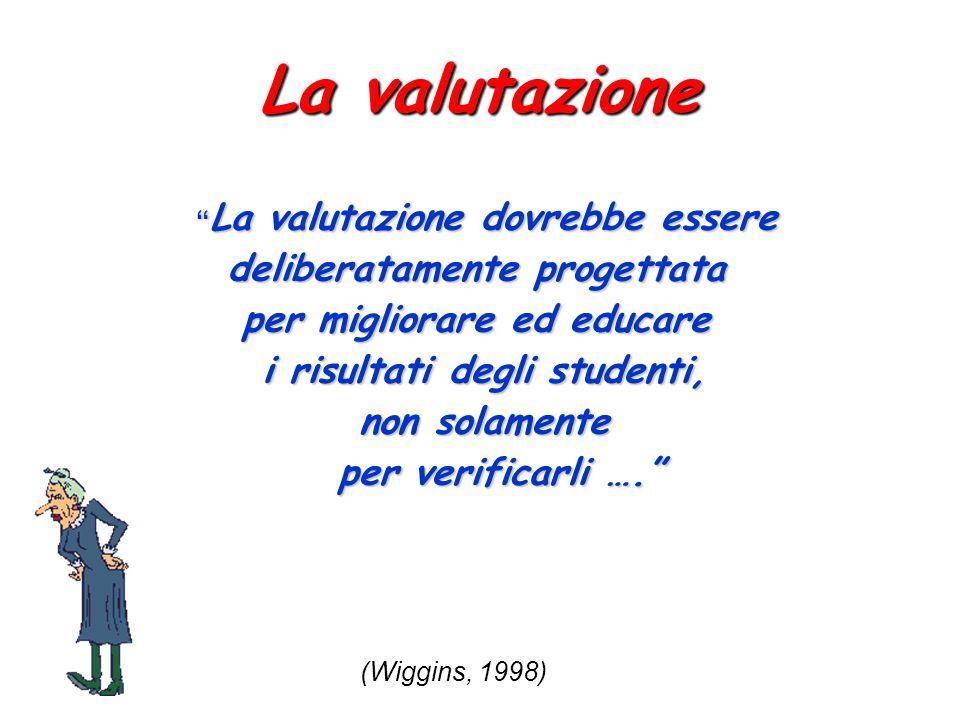 La valutazione La valutazione dovrebbe essere La valutazione dovrebbe essere deliberatamente progettata per migliorare ed educare i risultati degli st