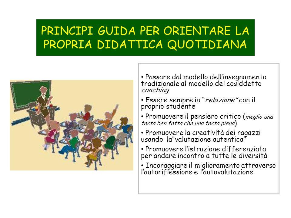 Passare dal modello dellinsegnamento tradizionale al modello del cosiddetto coaching Essere sempre in relazione con il proprio studente Promuovere il